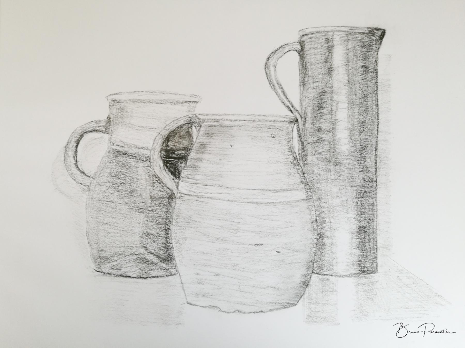 3 pots (fusain - mai 2019)