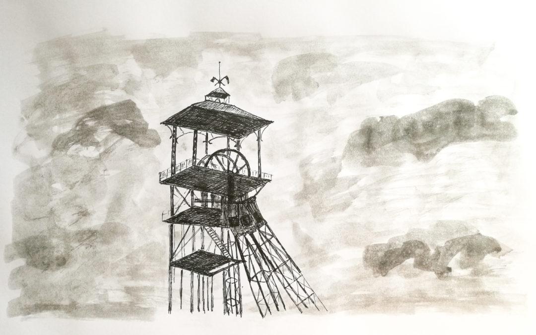 Dessins : chevalement du 11/19 à Loos en Gohelle