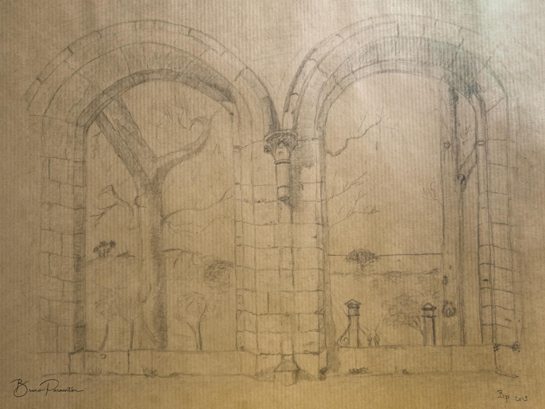 Abbaye de Beauport : le réfectoire (Crayon graphite sur papier kraft - Août 2019)