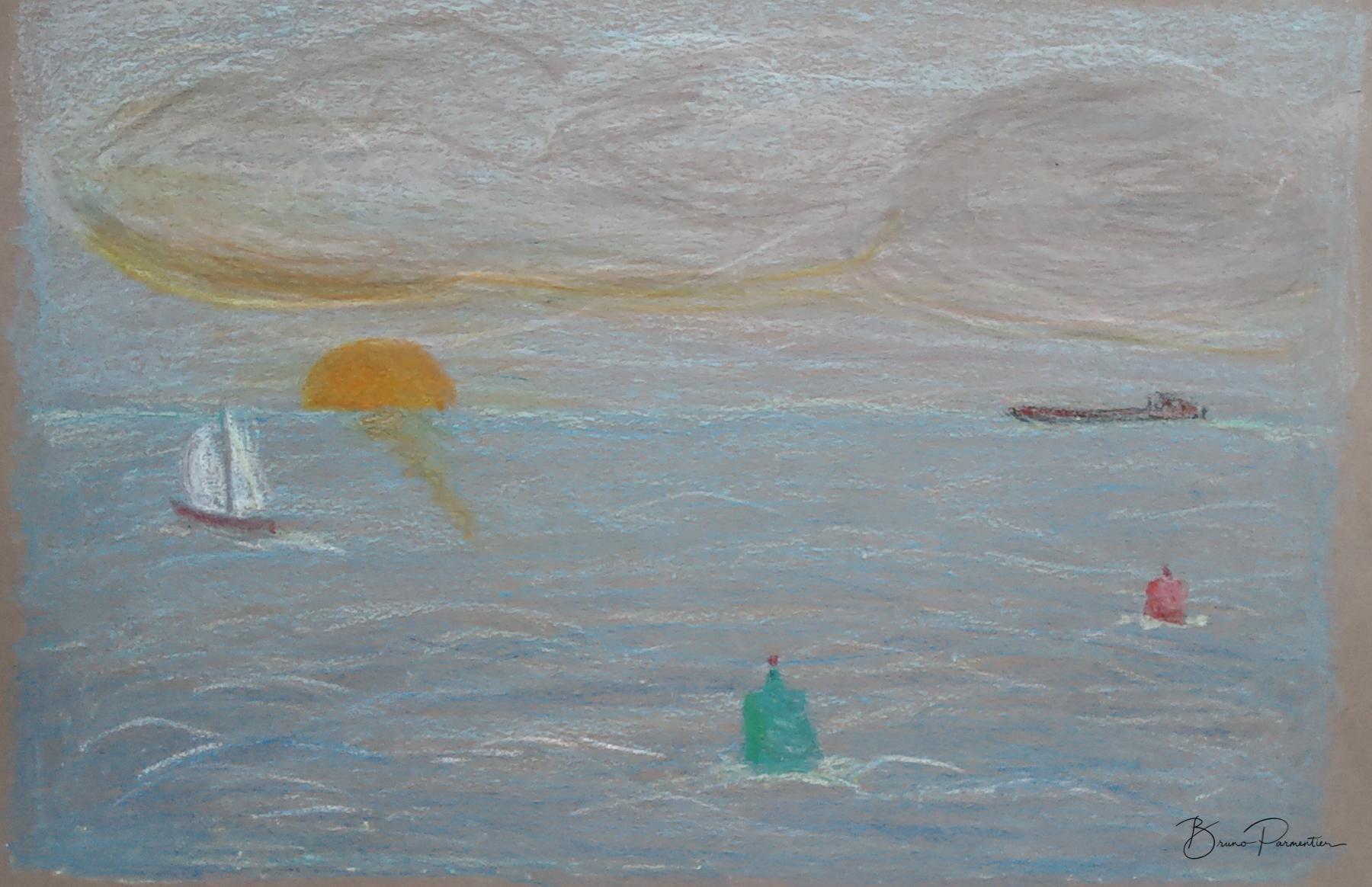 """""""Sortie du port"""" (pastel gras sur papier gris) Octobre 2019"""