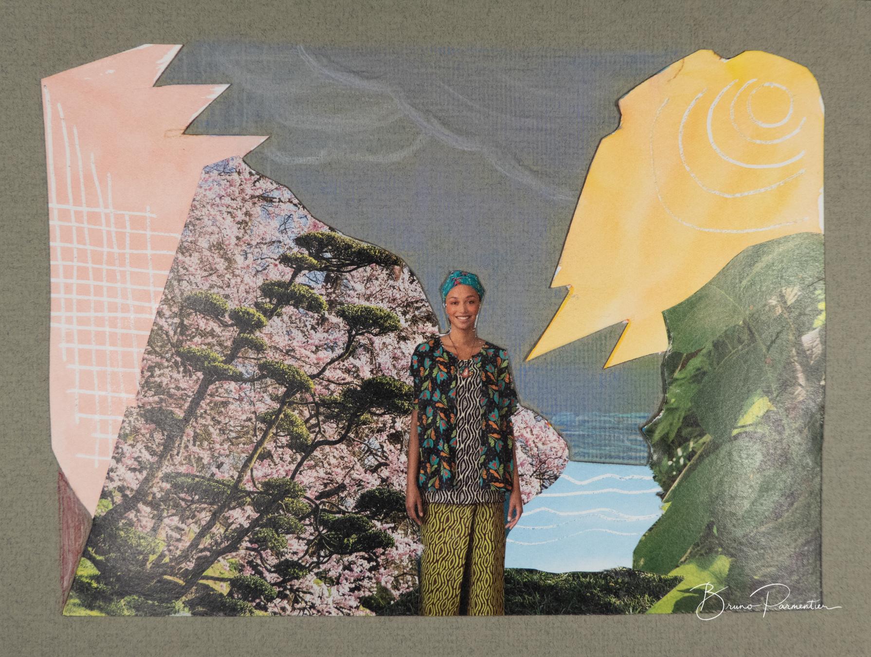Aquarelle (avec réserve au feutre drawing gum), collage, crayons de couleur - 12/04/21
